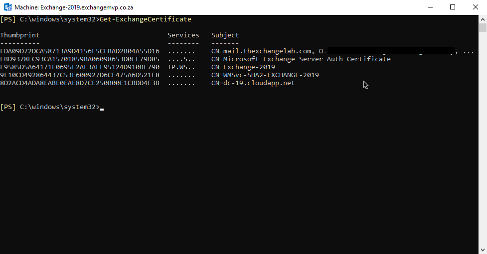Exchange 2019 – Assign Services to an SSL Certificate – Everything